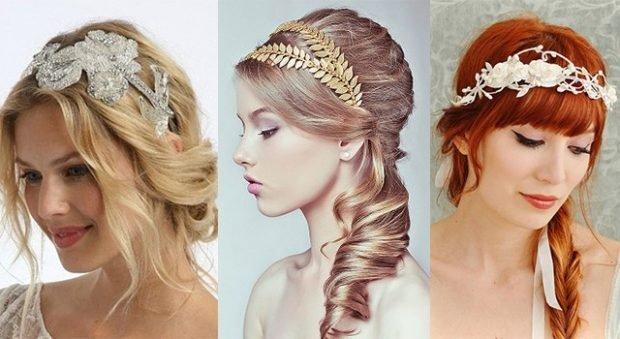 укладка волос греческий стиль с локонами челкой украшение разными ободками
