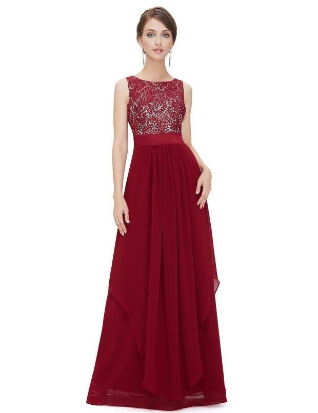 вечерние платья 2019 2020: красное без рукава в пол
