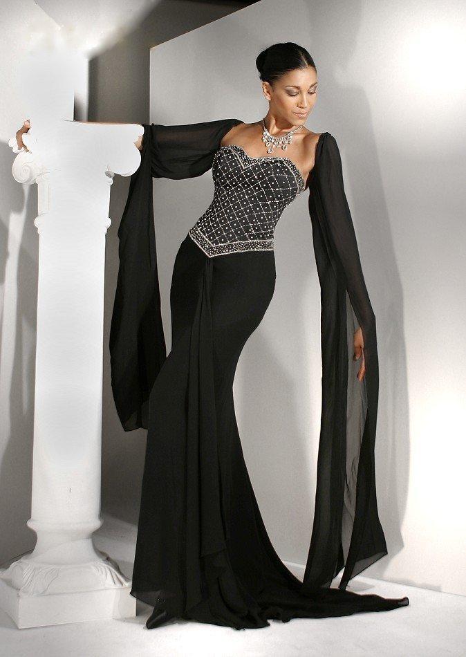 вечерние платья 2019 2020: модное черное бюстье в пол