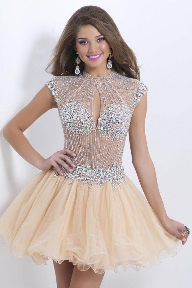 вечерние платья 2019 2020: короткое юбка пачка верх серебро мода