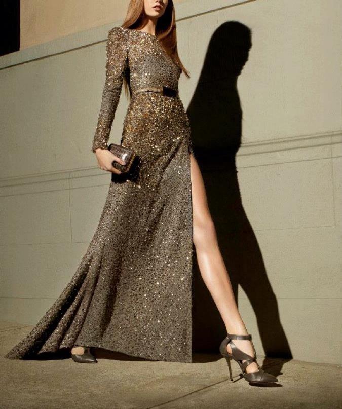 вечерние платья 2018 2019 фото новинки: золото в пол рукав длинный мода