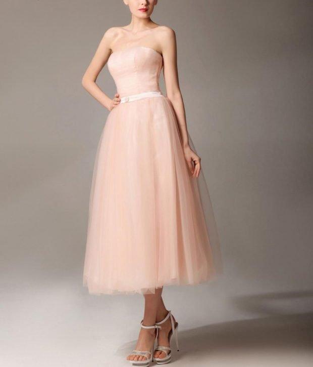 вечерние платья 2019 2020 фото новинки: бюстье персиковое миди юбка шифон модное