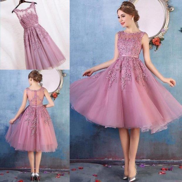 вечерние платья 2019 2020 фото новинки: короткое розовое без рукава