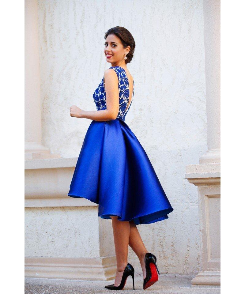 вечерние платья 2019 2020 фото новинки: короткое платье синее без рукава мода