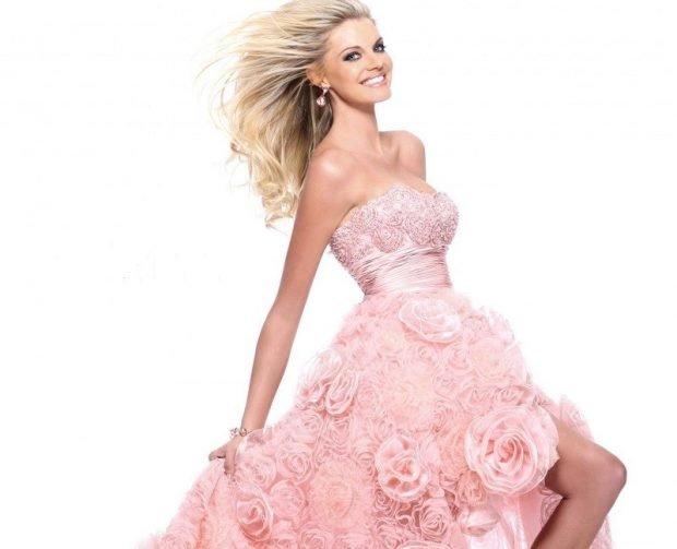 модные вечерние платья 2019 2020: маллет розовое с розами бюстье