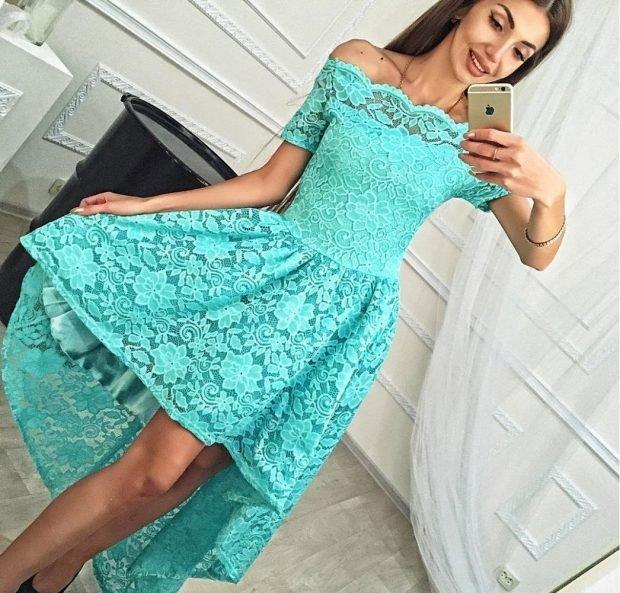 модные вечерние платья 2019 2020: маллет бирюзовое ажурное плечи открыты мода