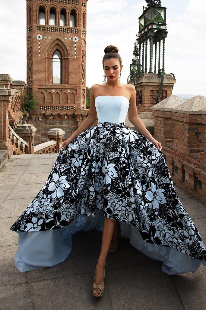 модные вечерние платья 2019 2020: маллет бюстье длинное юбка в цветы