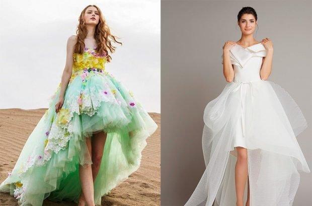 модные вечерние платья 2019 2020: маллет цветное в цветы белое из шифона