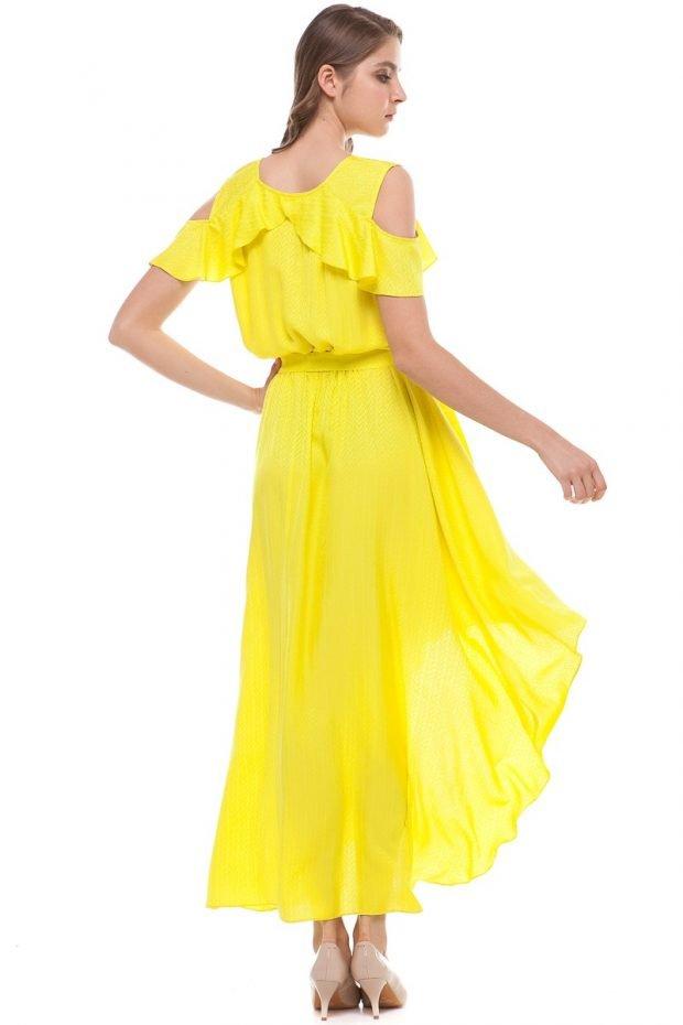 модные вечерние платья 2019 2020: маллет желтое шифон длина миди