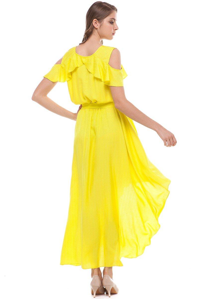 модные вечерние платья 2018 2019: маллет желтое шифон длина миди