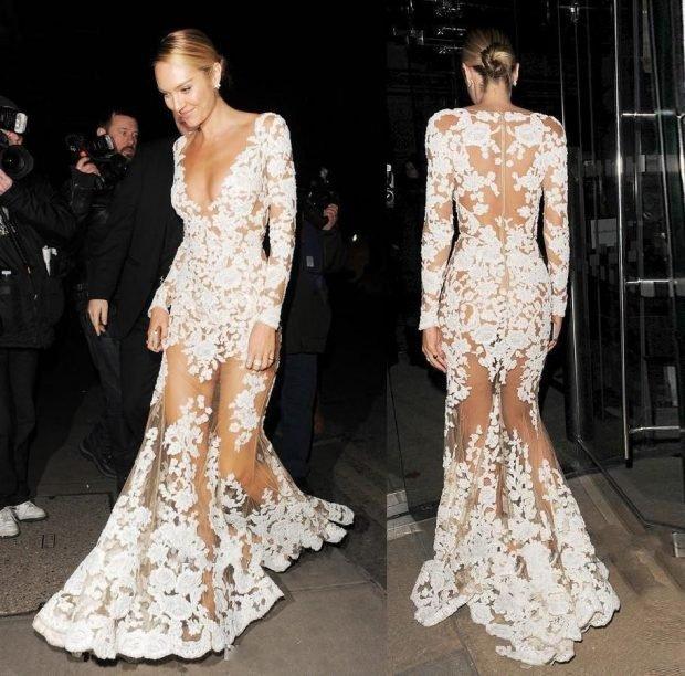 вечерние платья 2019 2020 новинки: мода белое прозрачное с декольте и длинным рукавом