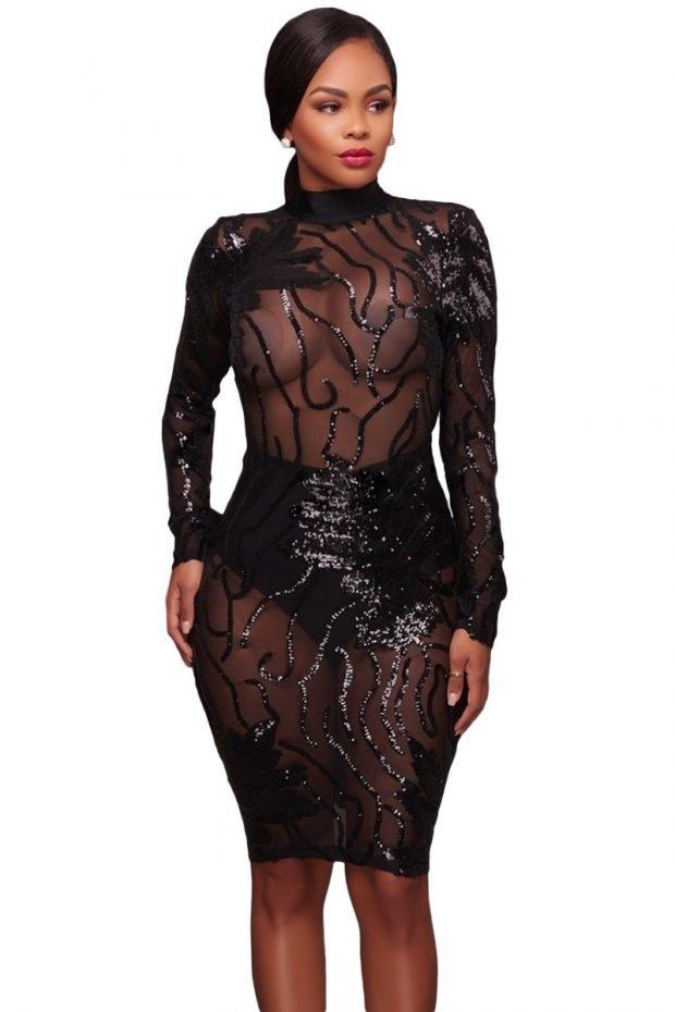 вечерние платья 2019 2020 новинки: черное длинный рукав прозрачное мода