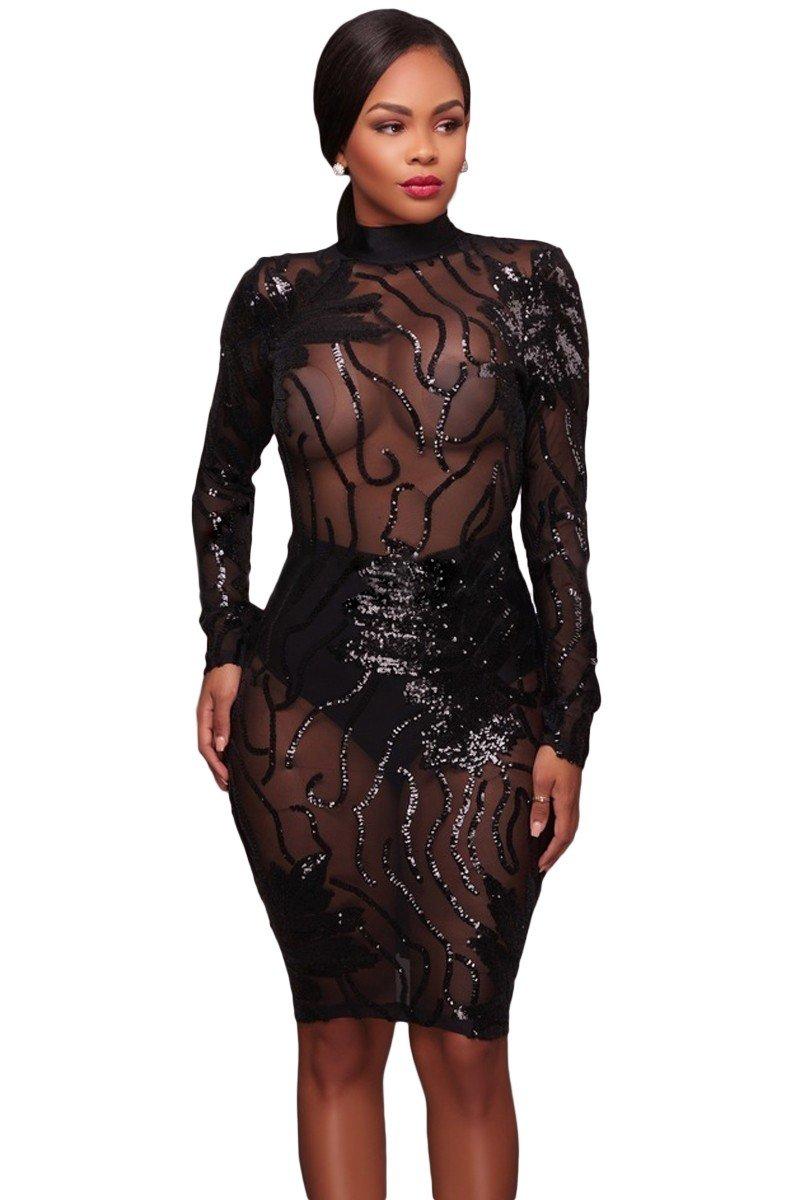 вечерние платья 2018 2019 новинки: черное длинный рукав прозрачное мода