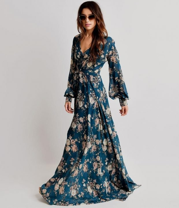 вечерние платья 2019 2020 новинки: в пол синее в цветы с длинным рукавом