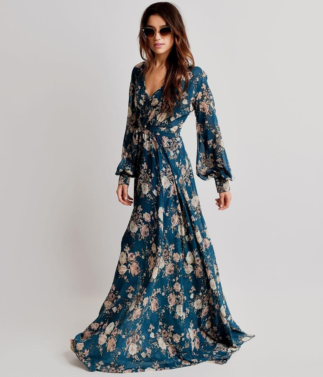 вечерние платья 2018 2019 новинки: в пол синее в цветы с длинным рукавом