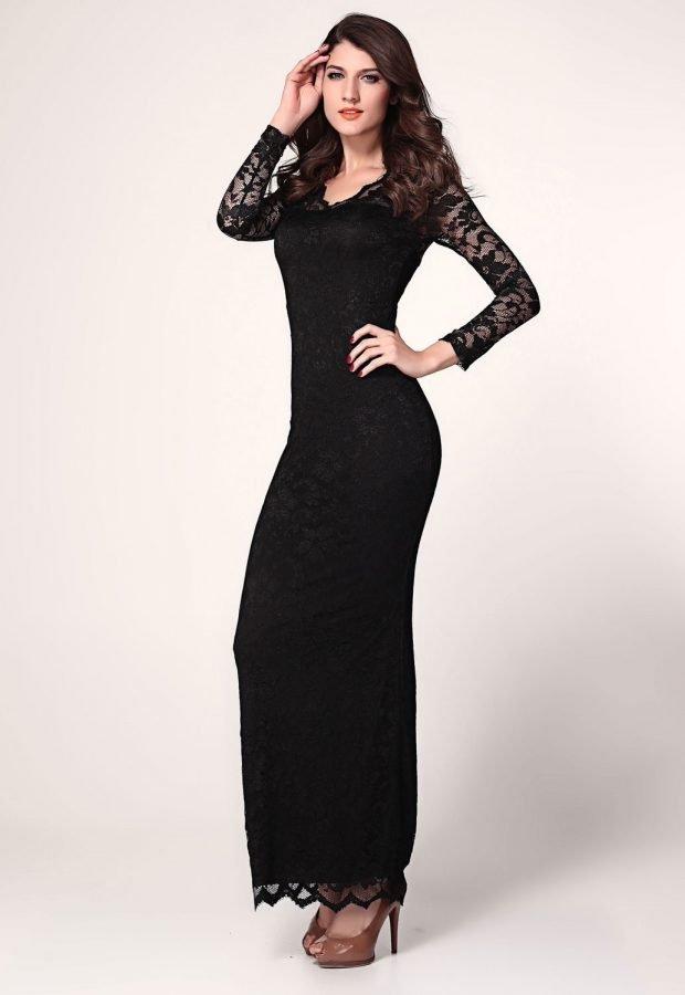 вечерние платья 2019 года фото: черное с длинным рукавом ажурным мода