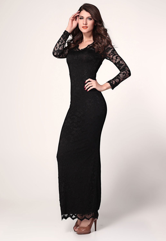 вечерние платья 2018 года фото: черное с длинным рукавом ажурным мода