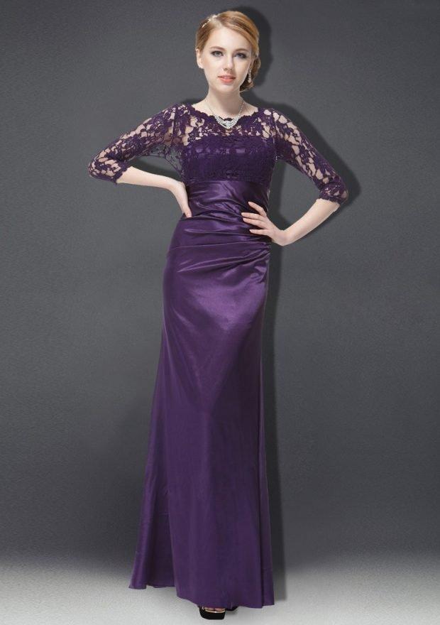 вечерние платья 2019 года фото: фиолетовое в пол с длинным рукавом прозрачным