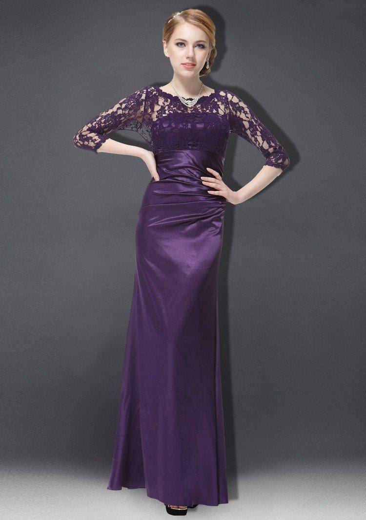 вечерние платья 2018 года фото: фиолетовое в пол с длинным рукавом прозрачным