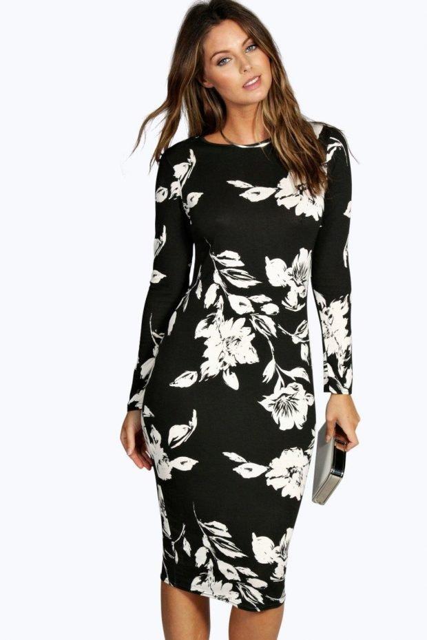 вечернее платье миди черное с длинным рукавом в белые цветы мода 2019