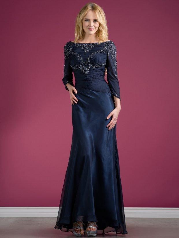 вечернее платье темно-синее с длинным рукавом мода 2019
