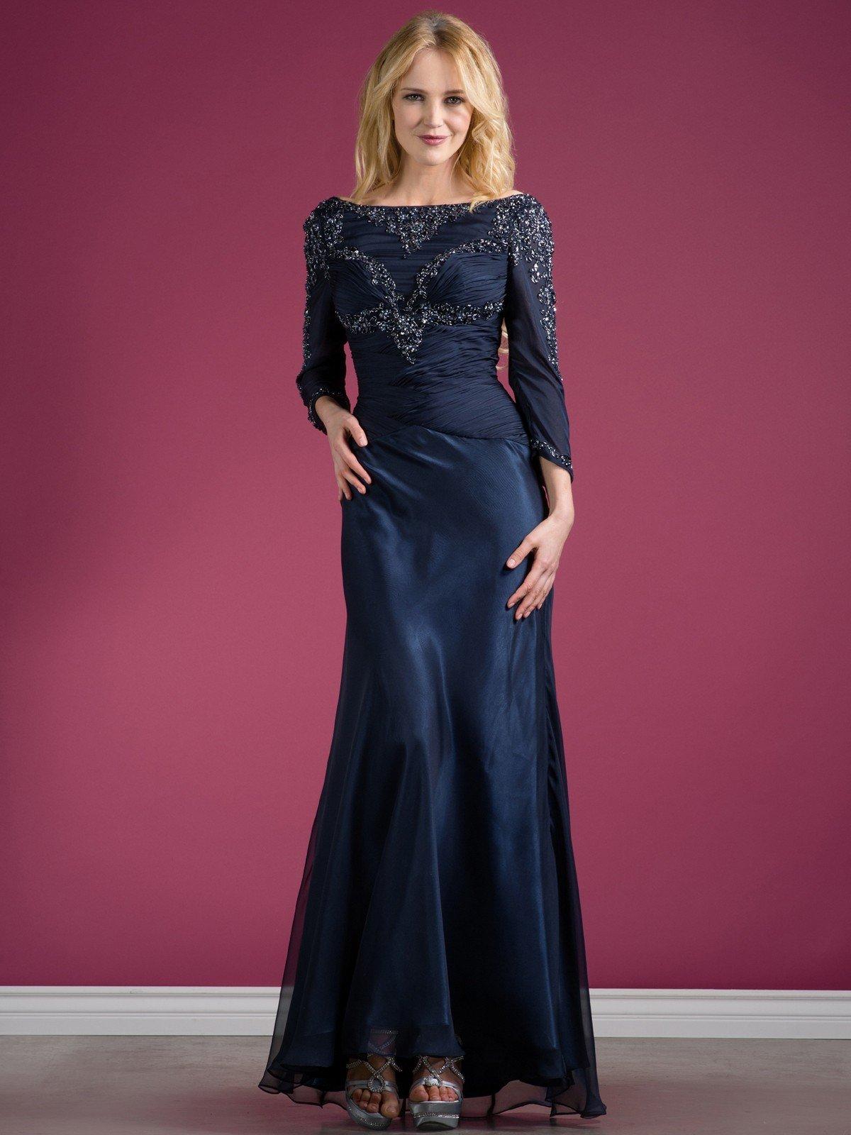 вечернее платье темно-синее с длинным рукавом мода 2018