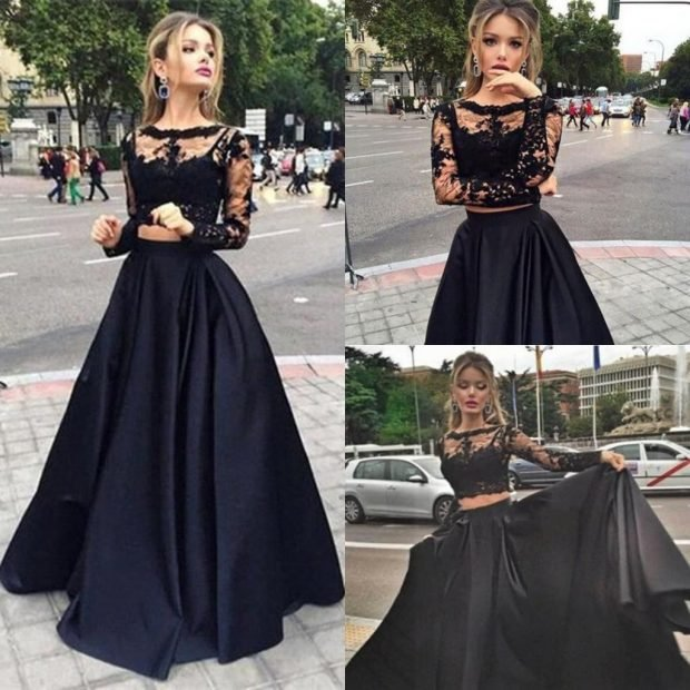 вечернее платье черное юбка-солнце с длинным рукавом мода 2019