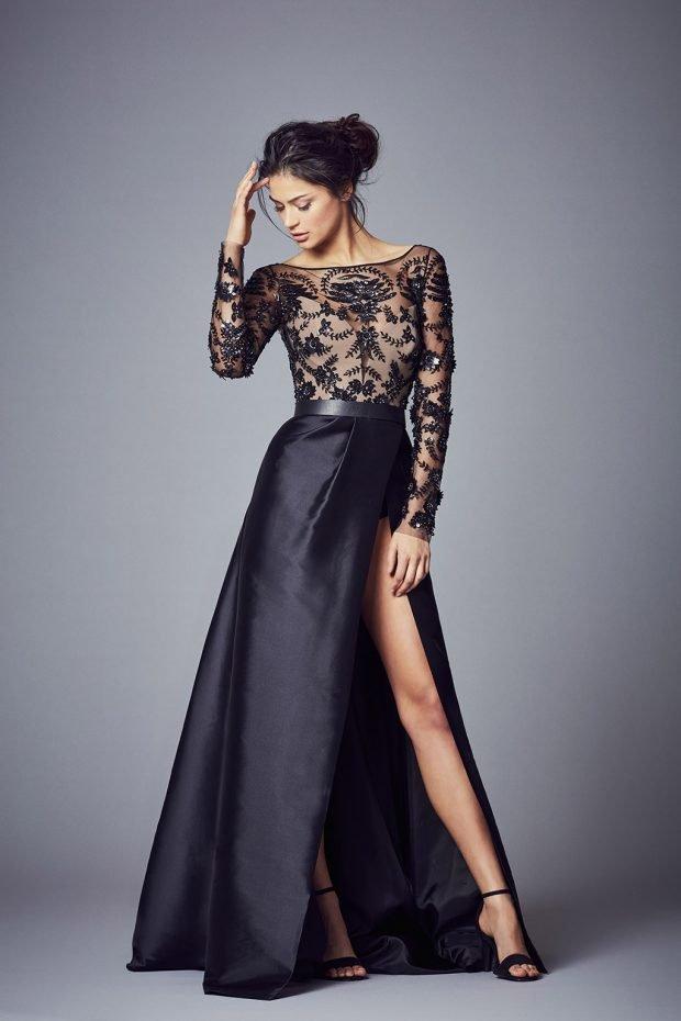 вечерние платья 2019 2020: черное верх ажурный рукав длинный