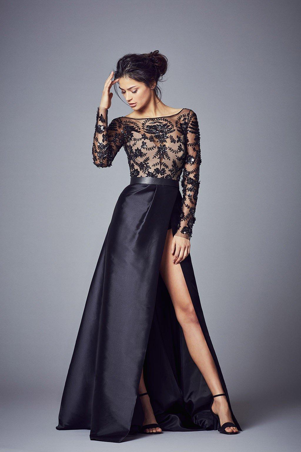вечерние платья 2018 2019: черное верх ажурный рукав длинный