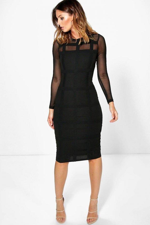 вечернее платье миди черное рукав длинный прозрачный мода 2019