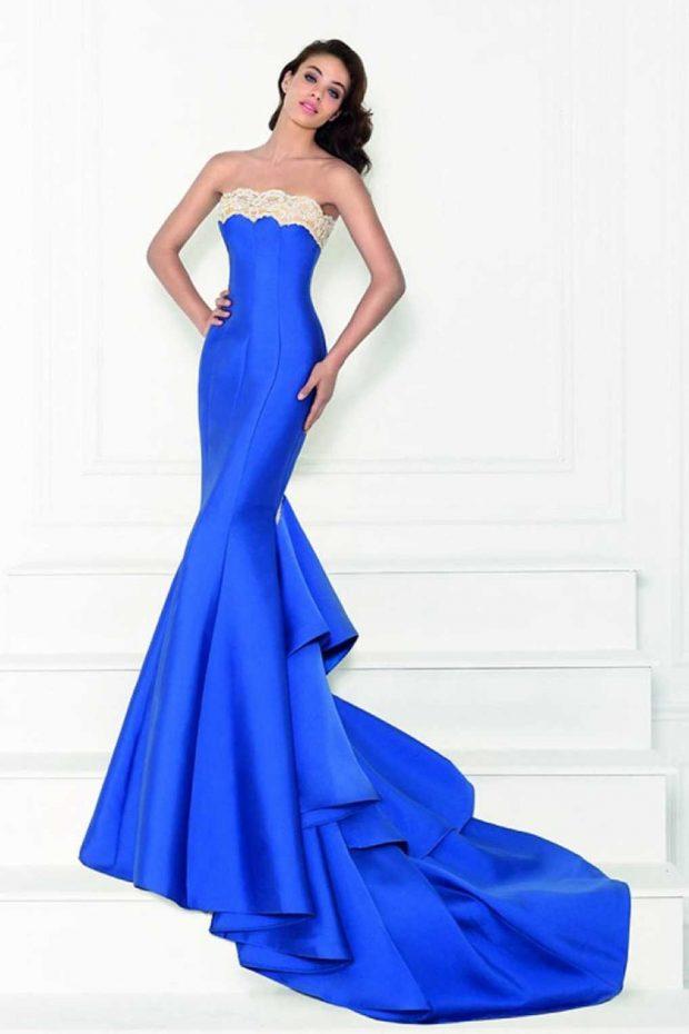 вечернее платье-рыбка синее бюстье 2019