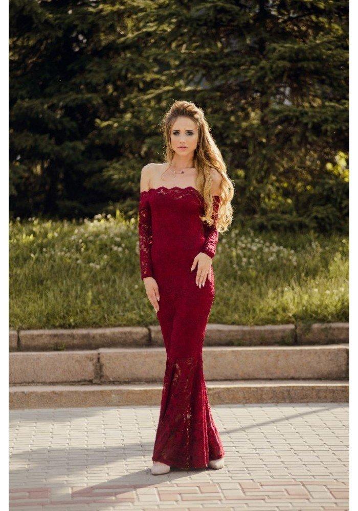 стильное вечернее платье-рыбка бордо плечи открыты рукав длинный 2018