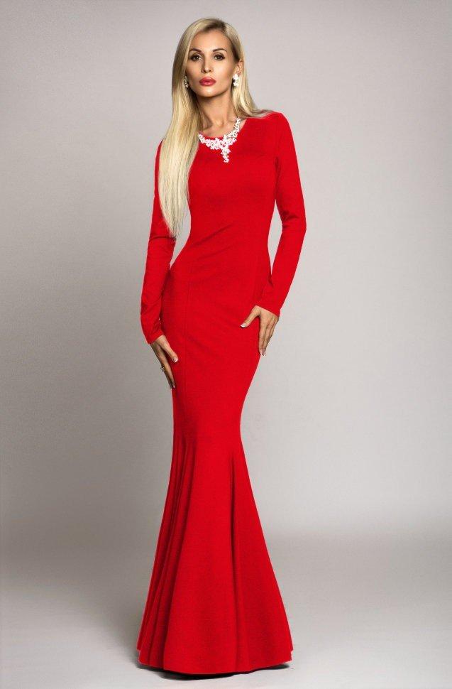 вечернее платье-рыбка красное в пол с рукавами 2019