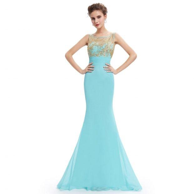 вечернее платье-рыбка бирюзовое открытые плечи 2019