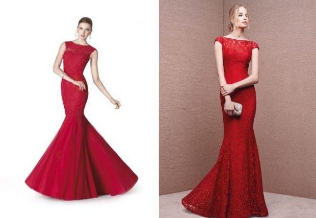 мода 2019-2020 вечернее платье-рыбка красное без рукава