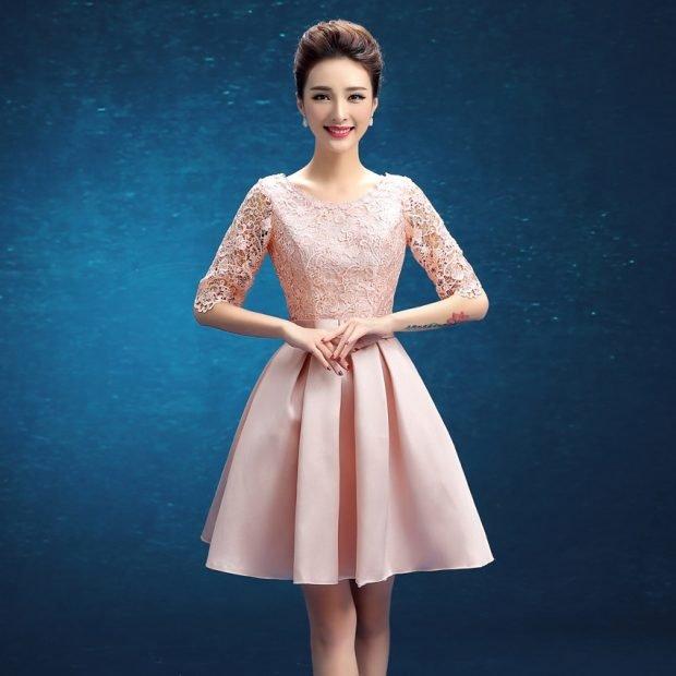 вечернее короткое платье юбка солнце рукав 3/4 мода 2019