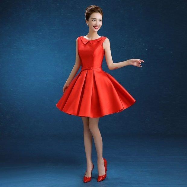 вечернее платье короткое красное без рукава мода 2019