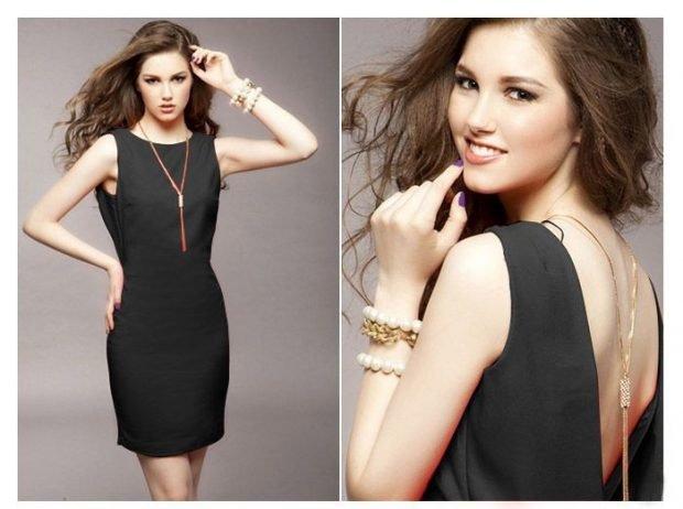 стильное вечернее платье 2019-2020 короткое черное без рукава