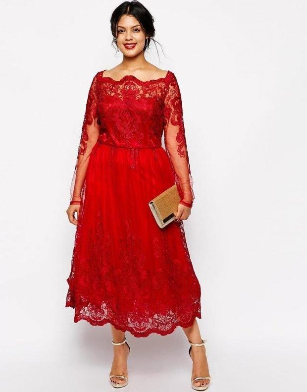 вечернее платье для полных красное миди рукав ажурный длинный мода 2019
