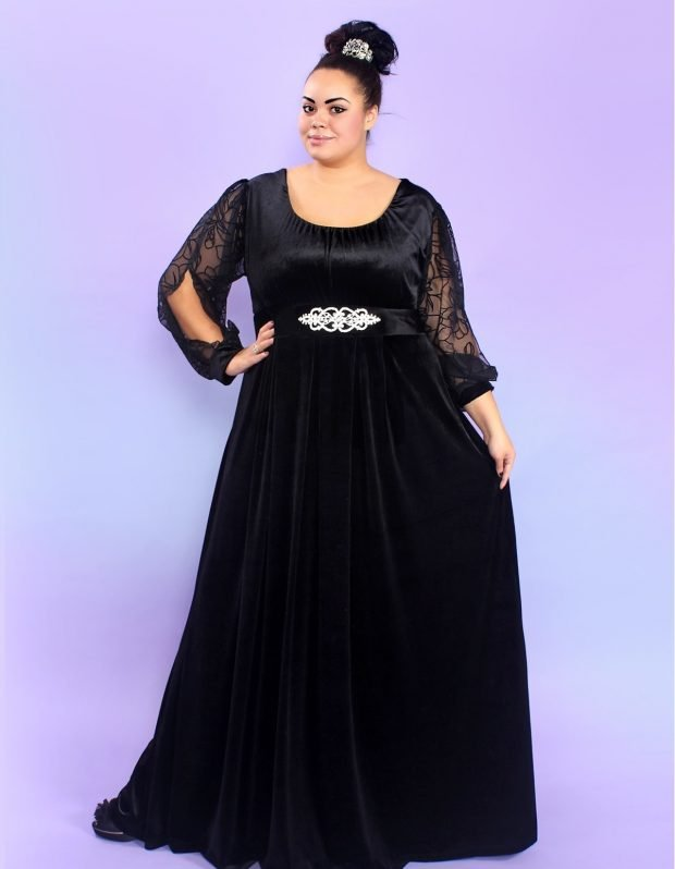 вечернее платье для полных черное в пол с рукавом мода 2019
