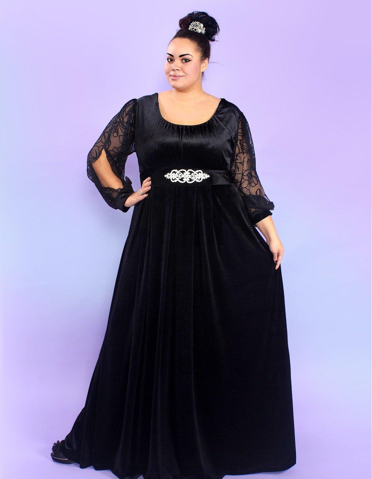 вечернее платье для полных черное в пол с рукавом мода 2018