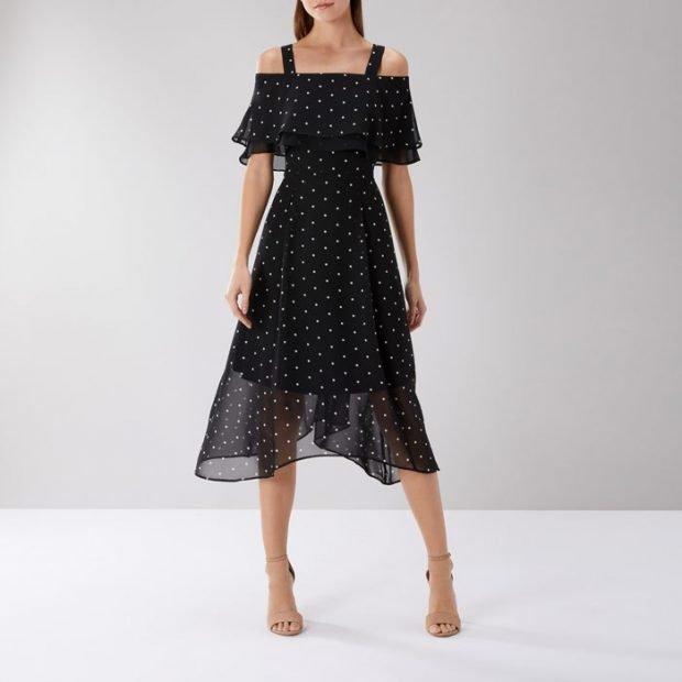 вечерние платья 2019 2020: стильное черное с горох миди плечи открытые