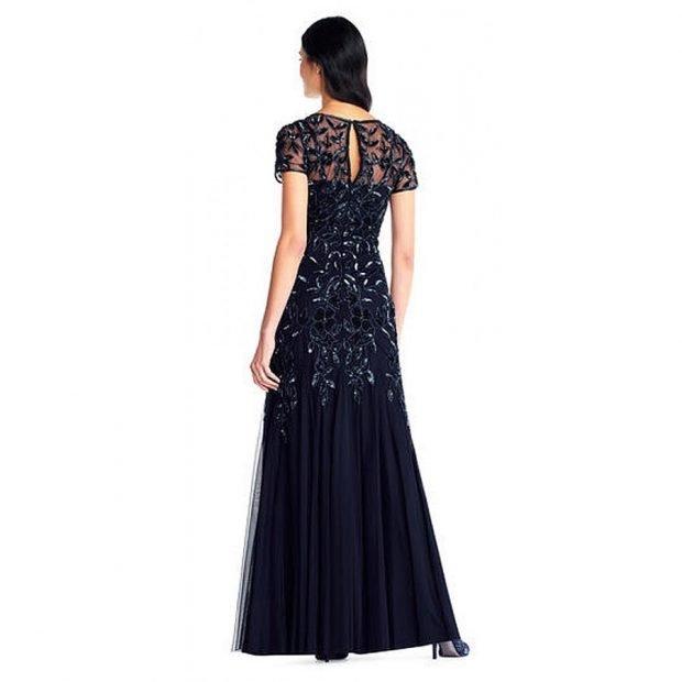 вечернее платье в пол черное с коротким рукавом 2019