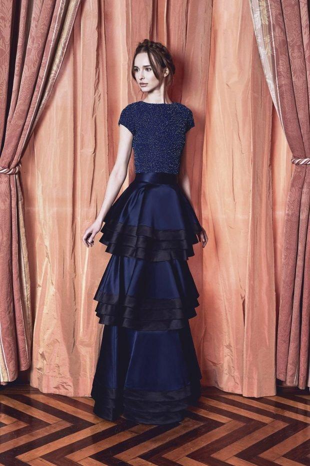 вечернее платье в пол синее воланами рукав короткий 2019