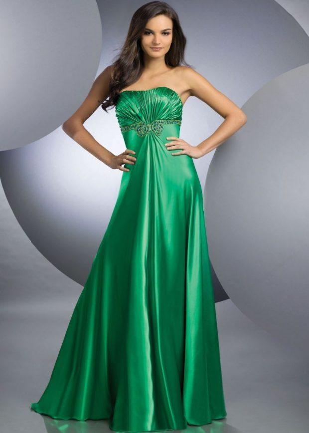 стильное вечернее платье 2019-2020 зеленое бюстье в пол