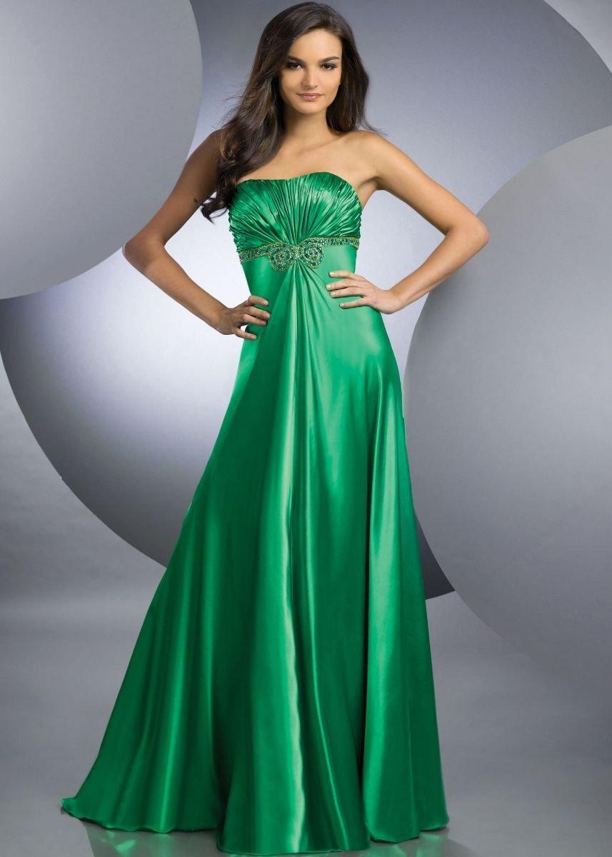 стильное вечернее платье 2018-2019 зеленое бюстье в пол