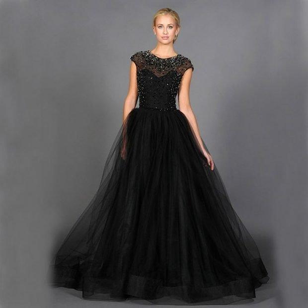 вечер 2019-2020 платье в пол черное юбка пышная мода