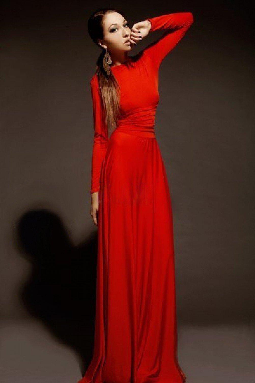 вечер 2018-2019 платье в пол красное рукав длинный модное
