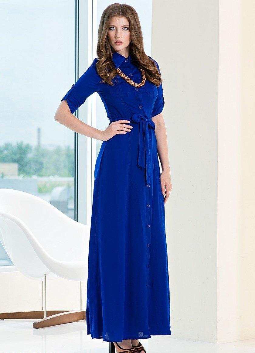 вечер 2018-2019 платье в пол  синее с рукавами модное