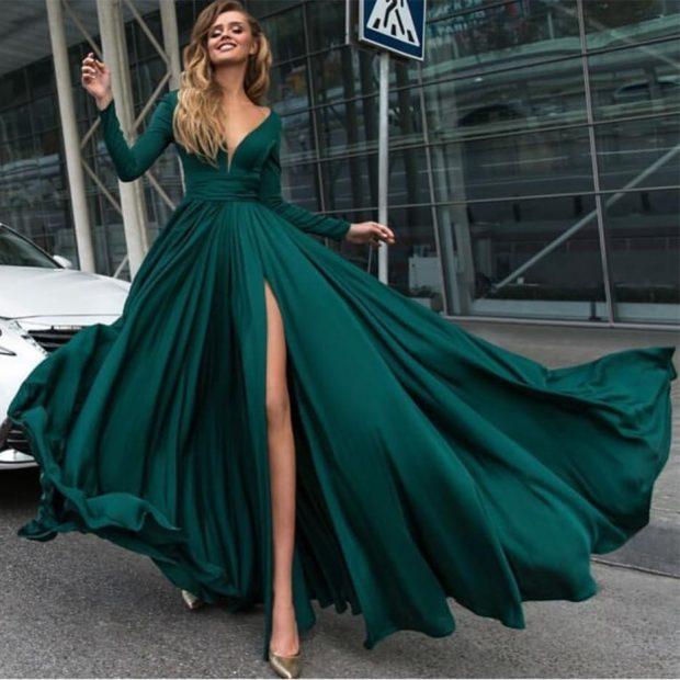 вечерние платья 2019 2020: зеленое юбка солнце